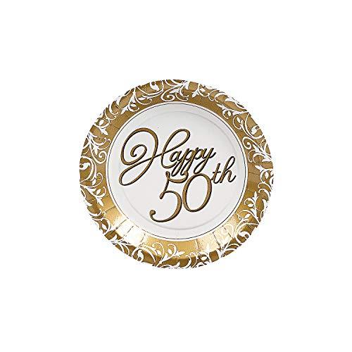 Fun Express - 50th Anniversary Dessert Plates for Wedding - Party Supplies - Print Tableware - Print Plates & Bowls - Wedding - 8 Pieces