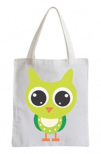 Raxxpurl Green Owl con grandi occhi Fun sacchetto di iuta