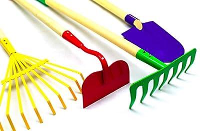 G & F Products JustForKids Kids Garden Tool Set Toy, Rake, Spade, Hoe and Leaf Rake, reduced size, 4-Piece