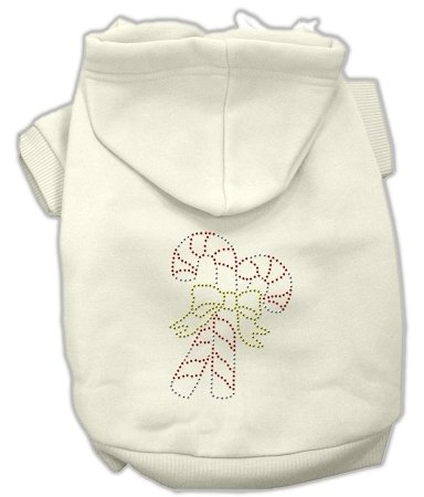 Candy Canes Hoodies Cream - Candy Cane Dog Hoodie Cream/XXX Large