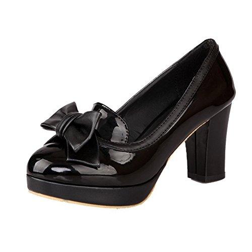AllhqFashion Damen Mittler Absatz Gemischte Farbe Rund Zehe Ziehen auf Stiefel, Schwarz, 41