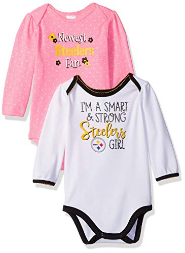 (NFL Pittsburgh Steelers Baby-Girls 2-Pack Long-Sleeve Bodysuits, Pink, 3-6 Months)