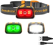 EverBrite LED Headlamp, Super Bright Rechargeable Headlight with Red&Green Light and Tail Light, 7 Lightin