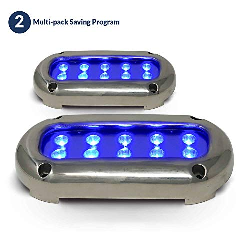 Five Oceans Blue LED Underwater Boat Light w/Stainless Steel Bezel (Pair) FO-4003-M2