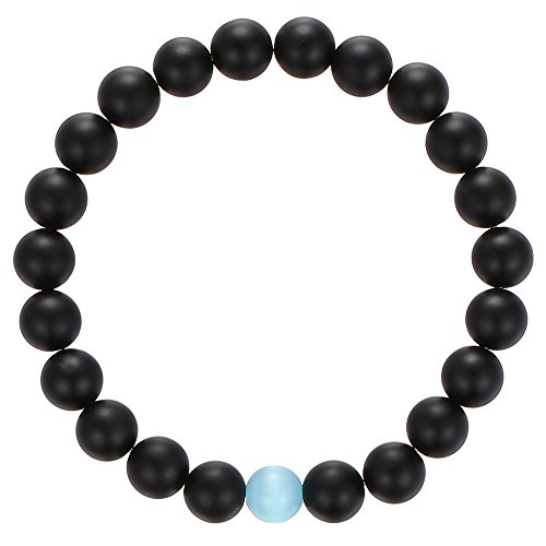 Gemstone Beaded Bracelet, BRCbeads Matte Black Onyx with Synthetic Aqua Cat Eye Natural Genuine Gemstones Birthstone Handmade Healing Power Crystal Be…