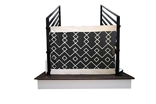 The Stair Barrier Baby and Pet Gate – Banister-to-Banister Fabric Safety Gate – Made in The USA – (Size: Wide, Fabric: Railroad Crossing, Color: Black) New 2019