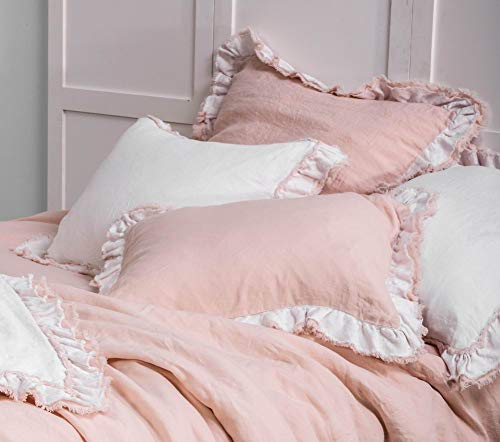 meadow park Washed French Linen 2 Pieces Square European Pillow Shams, Reversible, 26 inches x 26 inches, Super Soft, Ruffle Style, Pink&White Color