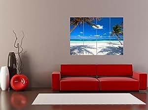 COCONUT PALMS AT DESOLATE BEACH CARIBBEAN PARADISE PHOTO PRINT POSTER OZ3240
