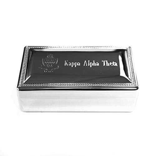 Kappa Alpha Theta Rectangle Engraved Pin Box Sorority Greek Decorative Trinket Case Great for Rings, Badges, Jewelry Etc.