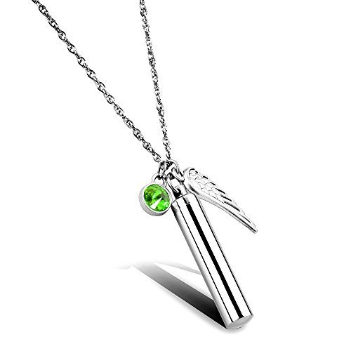 (Cylinder Cremation Jewelry Memorial Urn Necklace for Ashes Keepsake for Your Loved One (August 1.7in/4.3cm))