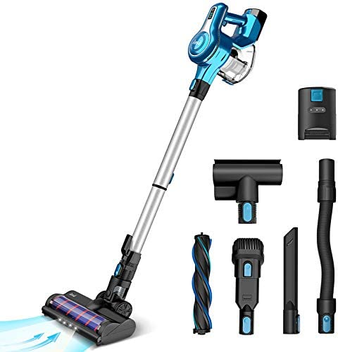 Cordless Vacuum Cleaner, 23Kpa 250W Brushless Motor Stick Vacume, Up to 45 Mins Max Runtime 2500mAh Rechargeable Battery, 5-in-1 Lightweight Handheld for Carpet Hard Floor Car Pet Hair, Blue-INSE S6