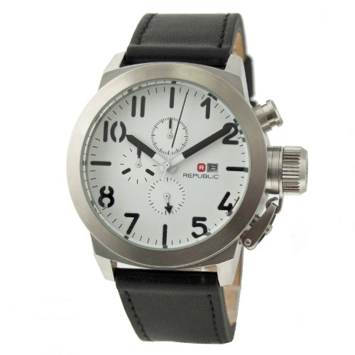 Republic Mens Black Leather Analog Chronograph Quartz Watch RP1072