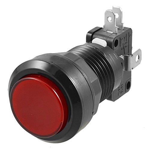 TOOGOO Arcade Game AC 250V 15A 24mm Dia Red Light Push Butto