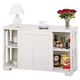 go2buy Antique White Stackable Sideboard Buffet Storage Cabinet with Sliding Door Kitchen Dining Roo