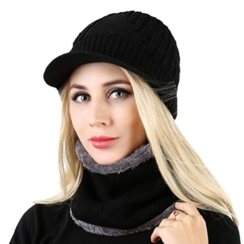 VBG VBIGER 2-Pieces Winter Knit Hat Scarf Set Warm Thick Knit Caps with Visor for Men Women by VBG VBIGER (Image #7)