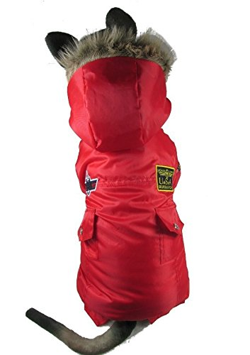 Krassu Winter Warm Thick for Large Small Dog Pet Clothes Padded Hoodie Jumpsuit Pants Apparel XS-5XL Hot [Red 4XL]
