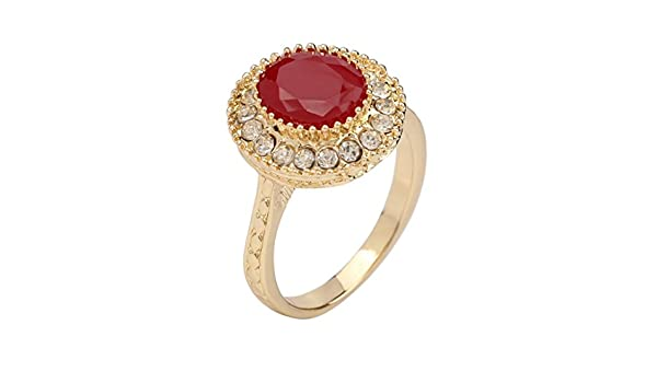 PSEZY Super Ofertas Vintage Wedding Rings Gold Ruby Jewelry Mosaic Crystal Ring