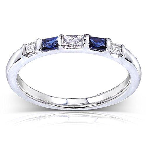 Blue Sapphire & Diamond Ring 1/4 Carat (ctw) In 14k White Gold_8.0