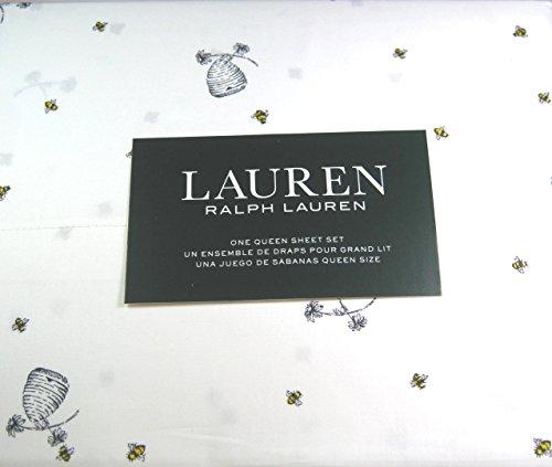 Ralph Lauren Bed Sheets - Lauren 4 Piece Queen Size Sheet Set Bumblebees,Flowers and HIves 100% Cotton