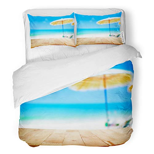 SanChic Duvet Cover Set Wood Table Top on Blurred Blue Sea Decorative Bedding Set with Pillow Sham Twin Size