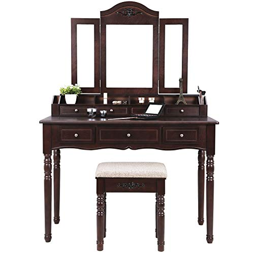 SONGMICS 7 Drawers Vanity Table Set Tri Folding Necklace Hooked Mirror 6 Organizers Makeup Dressing Table Cushioned Stool Easy Assembly Gift Girls Dark Expresso URDT06Z