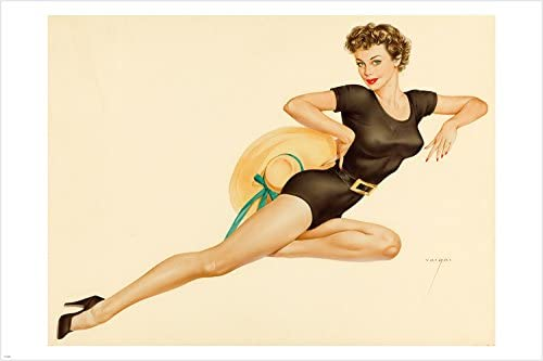 PIN-UP GIRL PAINTING LOVELY BRUNETTE POSTER buxom laid back 24X36-PY1