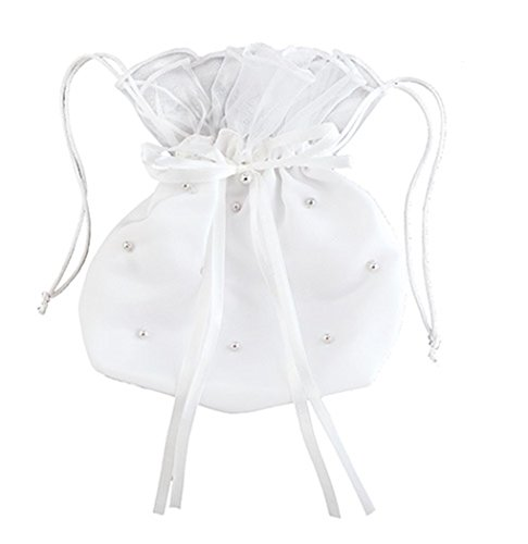 White Satin First Communion Drawstring Purse with Faux Pearls and Bow, 7 Inch