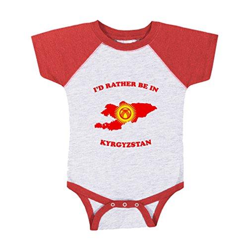 Cute Rascals Id Rather Be In Kyrgyzstan Baby Sport Raglan Bodysuit Grey Red 6 Months