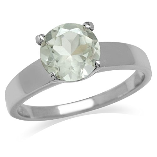 Green Amethyst Solitaire Ring (2ct. Natural Green Amethyst 925 Sterling Silver Solitaire Ring Size 7)