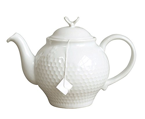 Creative Co-op White Stoneware Honey Comb Teapot with Bee Finial, White