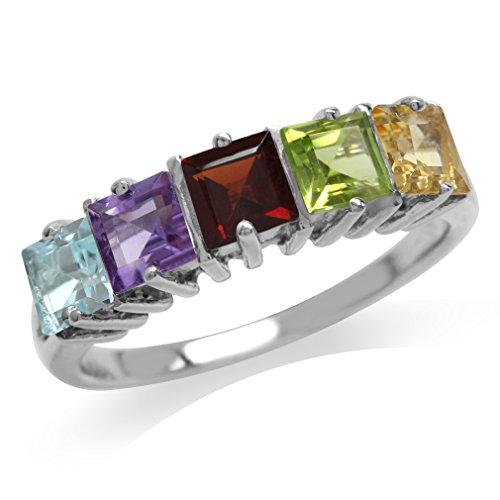 5-Stone Genuine Blue Topaz, Amethyst, Garnet, Peridot & Citrine 925 Sterling Silver Ring Size 10.5