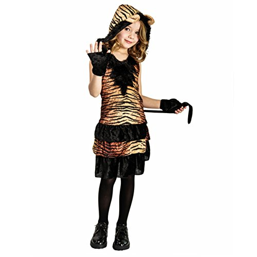 Kids Girls Leopard Tiger Costume Dress (10-12Y)]()