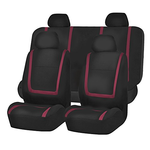 (FH Group FB032BURGUNDY114 Burgundy Unique Flat Cloth Car Seat Cover (w. 4 Detachable Headrests and Solid Bench) )