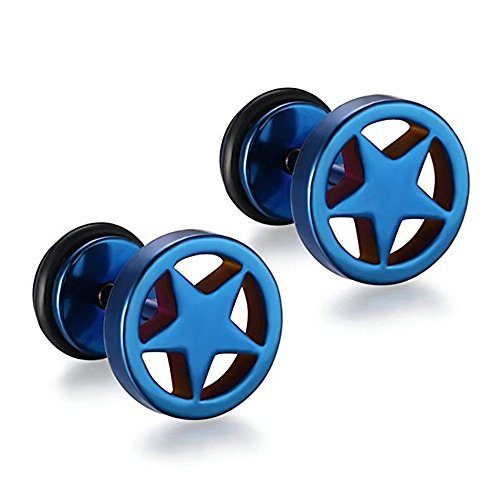 Sophie Land Stainless Steel Hollowed Stars Round Shape Studs for Men and Woman (Blue)