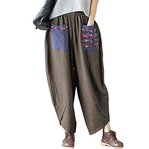 Helisopus Womens Baggy Casual Trousers Cotton Linen Loose Harlan Pants Elastic Waist (Grey, Tag XL=(US L))