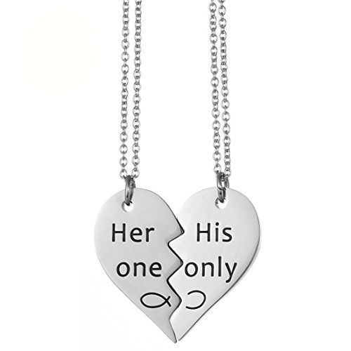 JJTZX Her One His Only Broken Heart Necklace Best Friends Necklace You Are My Person Grey's Anatomy Necklace Set of 2 Couple Gift (Her one His Only)