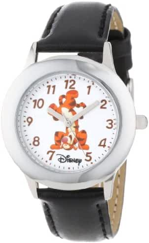 Disney Kids' W000874 Tween Tigger Stainless Steel Black Leather Strap Watch