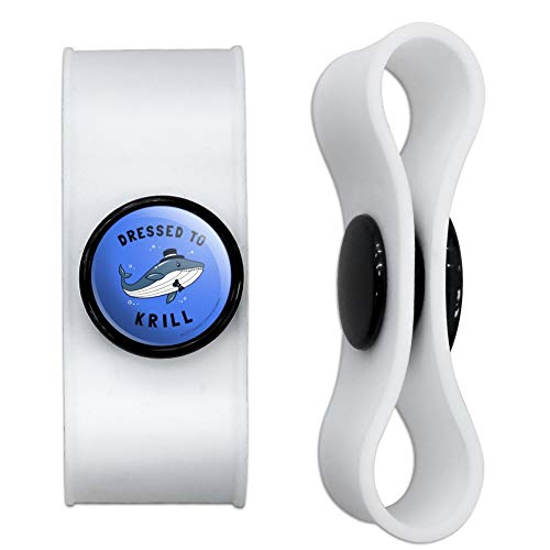 GRAPHICS & MORE Dressed to Krill Whale Kill Funny Humor Headphone Earbud Cord Wrap - Charging Cable Manager - Wire Organizer Set of 2 - White (Whale Cord Keeper)