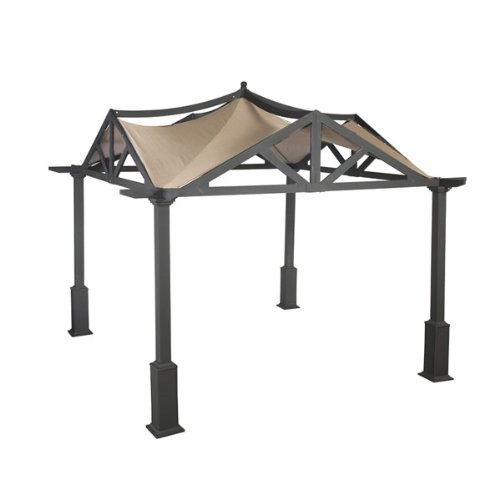 Garden Winds LCM525BREV-UGF-RS Garden Treasures Pergola Gazebo, Riplock 500 Replacement Canopy, Beige