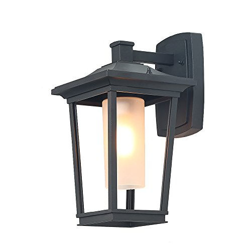 LNC Wall Light, Outdoor Wall Sconce in Painted Black Hand-finish with Frosted Glass Cylinder, Use E26 Bulb, Fit for Entryways, Yards, Garden, Front Porch, Patio, ()
