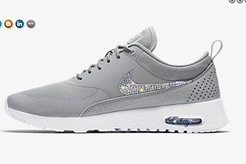 Custom Crystals Sparkle Gray Air Max Thea White Sneakers by Eshays