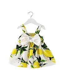 Putars Fashion Baby Girl Clothes Lemon Printed Infant Outfit Sleeveless Princess Gallus Dress