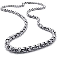 MENS 2MM Silver 20 Stainless Steel Pearl Box Chain Necklace Fashion Pendant