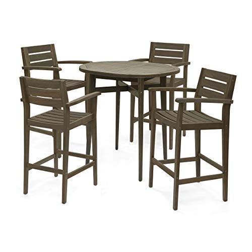Stanford Bar-Height Table Set   Solid Acacia Wood Frames   Includes 4 Bar Stools   30″ Sea ...