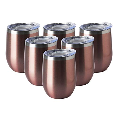 HASLE OUTFITTERS 12oz Wine Tumbler with Lid Stemless Wine Glasses Double Wall Vacuum Travel Mugs Stainless Steel Coffee Cup for Cold & Hot Drinks Wine Coffee Cocktails Beer 6 Pack Rose Gold
