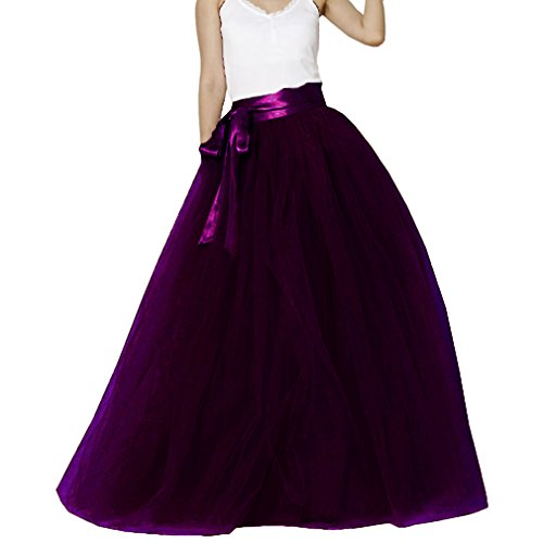 Lisong Women Floor Length Bowknot Tulle Party Evening Skirt 18W US Grape -