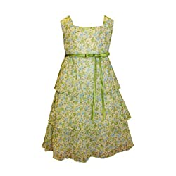 Sweet Kids Little Girls' Triple Tier Floral Chiffon Easter Dress Sundress
