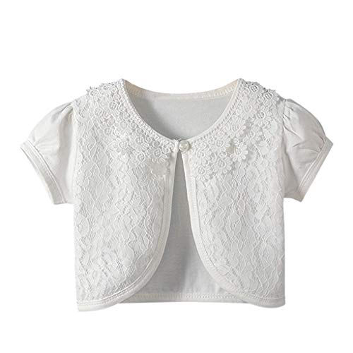Tronet Toddler Kids Baby Little Girls Lace Princess Short Sleeve Bolero Cardigan Shrug Tops Clothes White