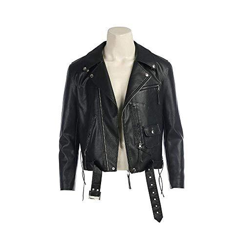 cossun Terminator Jacket Male Cosplay Costume T-800 PU Leather Jacket men coat (XXL) (Schwarzenegger Xxl)