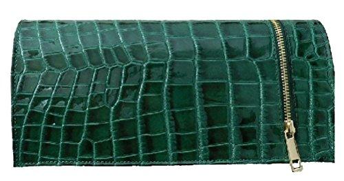 Pochette in pelle laccata stampata cocco BC508verde made in Italy